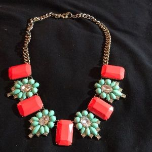 Accessories - TEAL AND CORAL COSTUME NECKLACE